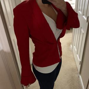 Escada Red Silk Blazer with Ruffle Hem Sleeves